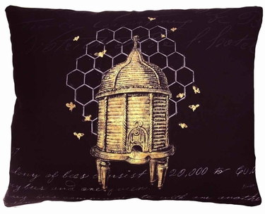 Vintage Bee Outdoor Pillow - Click to enlarge