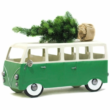 VW Inspired Green Christmas Bus w/LED Tree - Click to enlarge