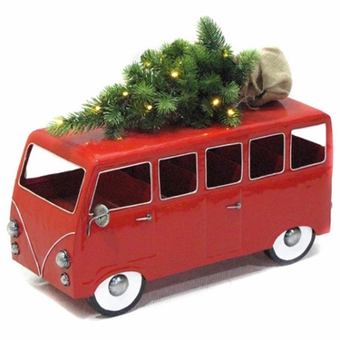VW Inspired Red Christmas Bus w/LED Tree - Click to enlarge