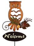 Welcome Fall Owl Garden Stake