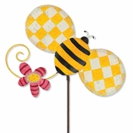 Whimsical Metal Bee Stake
