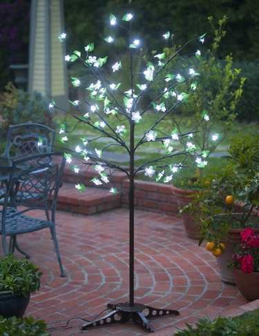 White LED Cherry Blossom Tree - w/Leaves! - Click to enlarge