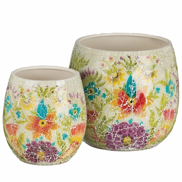White Mosaic Planters Set - Click to enlarge
