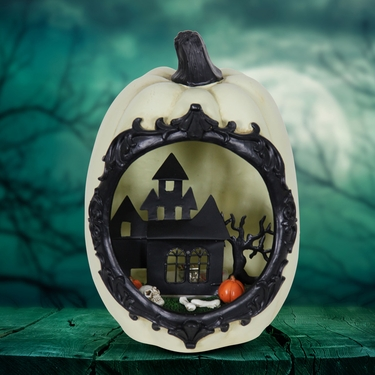 White Pumpkin w/LED Mansion Scene - Click to enlarge