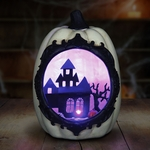 White Pumpkin w/LED Mansion Scene
