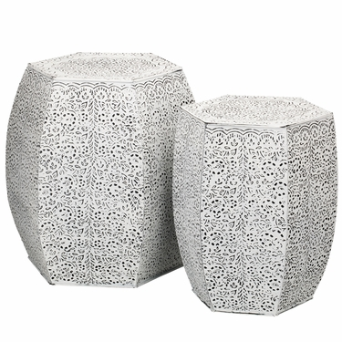 White Vines Garden Stools & Planters (Set of 2) - Click to enlarge