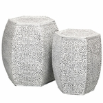 White Vines Garden Stools & Planters (Set of 2)