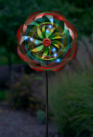 Wind-Powered LED Flower Spinner - Click to enlarge