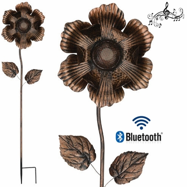 Wireless Speaker Stake - Bronze Flower - Click to enlarge