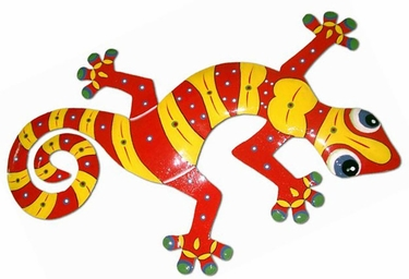 XL Red Yellow Gecko Wall Art - Click to enlarge