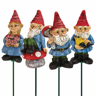 Yard Gnome Plant Stakes (Set of 4) - Multi Color - Click to enlarge