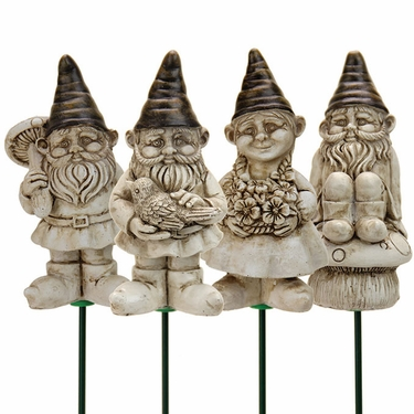 Yard Gnome Plant Stakes (Set of 4) - White Wash - Click to enlarge