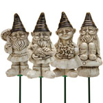 Yard Gnome Plant Stakes (Set of 4) - White Wash