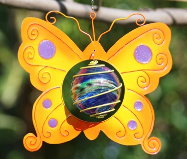 Yellow Butterfly Art Glow Catcher - Click to enlarge