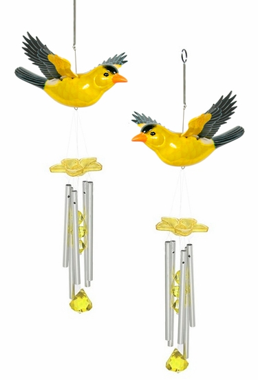 Yellow Finch Wind Chimes (Set of 2) - Click to enlarge