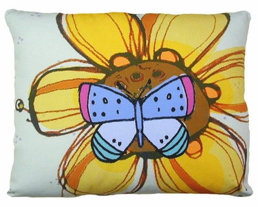Yellow Flower w/Butterfly Outdoor Pillow - Click to enlarge