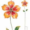 Yellow Hibiscus Glass Flower Stake