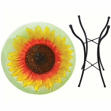 Yellow Sunflower Glass Birdbath w/Stand - Click to enlarge