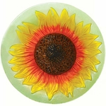 Yellow Sunflower Glass Birdbath w/Stand