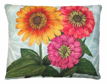 Zinnias Flowers Outdoor Pillow - Click to enlarge
