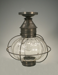 "12"" Caged Onion Flush Mount Light Fixture with Four Glass Options <font color=a8bb35> Discontinued</font>"