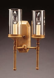 """2-Lite Wall Sconce with 3"""" x 6"""" Clear Glass Cylinder"""