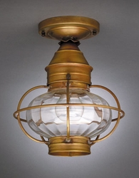 "7"" Onion Flush Mount Light Fixture with Caged Optic Globe"
