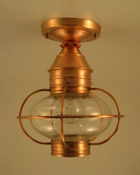 "7"" Round Onion Flush Mount Caged Light Fixture"