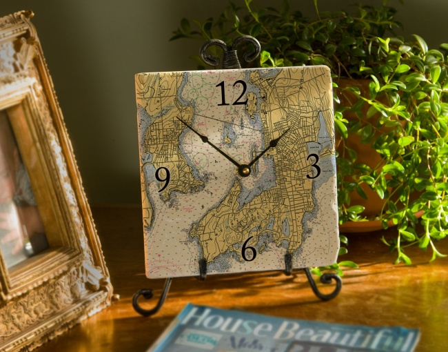 8 Inch Marble Nautical Map Clock Customize With Your