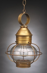 "8"" Round Onion Hanging Light Fixture - Caged"