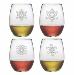 Abstract Snowflakes Stemless Wine Glasses Set of 4