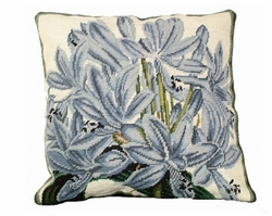 Agapanthus Needlepoint Pillow