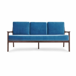 Albin Walnut Sofa with Blue Cushion