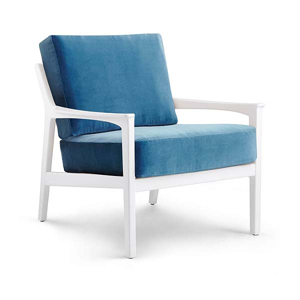 albin white lounge chair with blue cushion from cottage bungalow