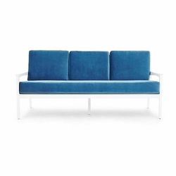 Albin White Sofa with Blue Cushion