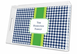 Alex Houndstooth Navy Lucite Tray in Three Sizes