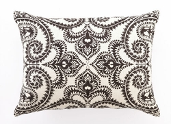 Amalfi Chocolate Embroidered Linen Pillow