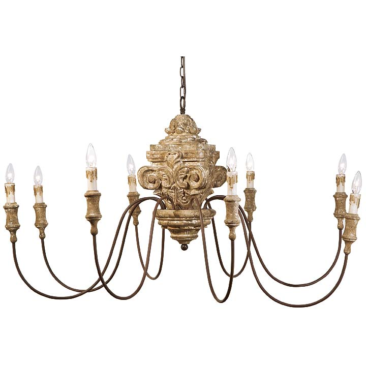- Antique Wood Carved Chandelier For Sale - Cottage & Bungalow
