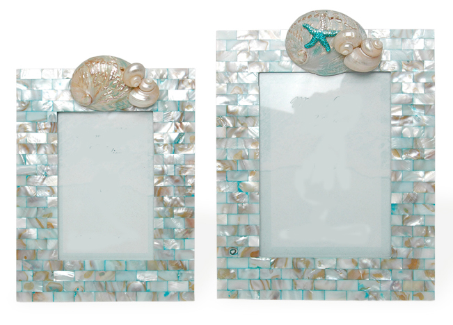 Aqua Mother Of Pearl Frames In 4x6 And 5x7 For Sale