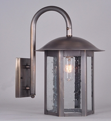 Aurora Collection Wall Mount Lantern with Clear Seedy Glass