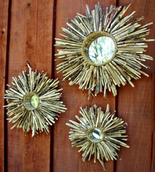 Baja Sunburst Driftwood Trio of Mirrors