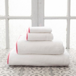 Banded White/Coral Bath Towels<font color=cf2317> 20% Off</font>