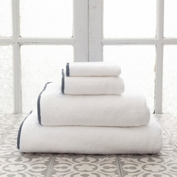 Banded White/Shale Bath Towels<font color=cf2317> 20% Off</font>