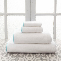 Banded White/Sky Blue Bath Towels<font color=cf2317> 20% Off</font>