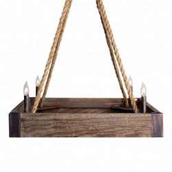 Barnwood and Rope Square Chandelier