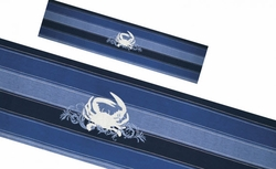 Blue Stripe Table Runner With Embroidered Crab