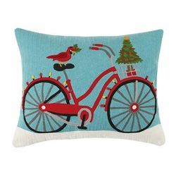 Beach Cruiser Crewel Holiday Pillow
