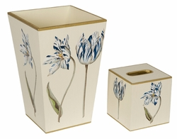 Blue and White Flowers on Ivory Background Bath Set<font color=cf2317> Discontinued</font>