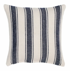 Blue Awning Stripe Woven Cotton Decorative Pillow<font color=a8bb35> NEW</font>