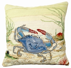 Blue Crab Needlepoint Pillow